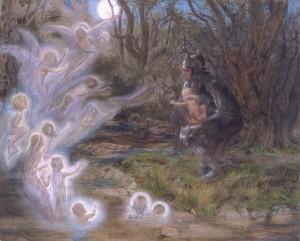 fairies bless the newborn child by Estella Canziani